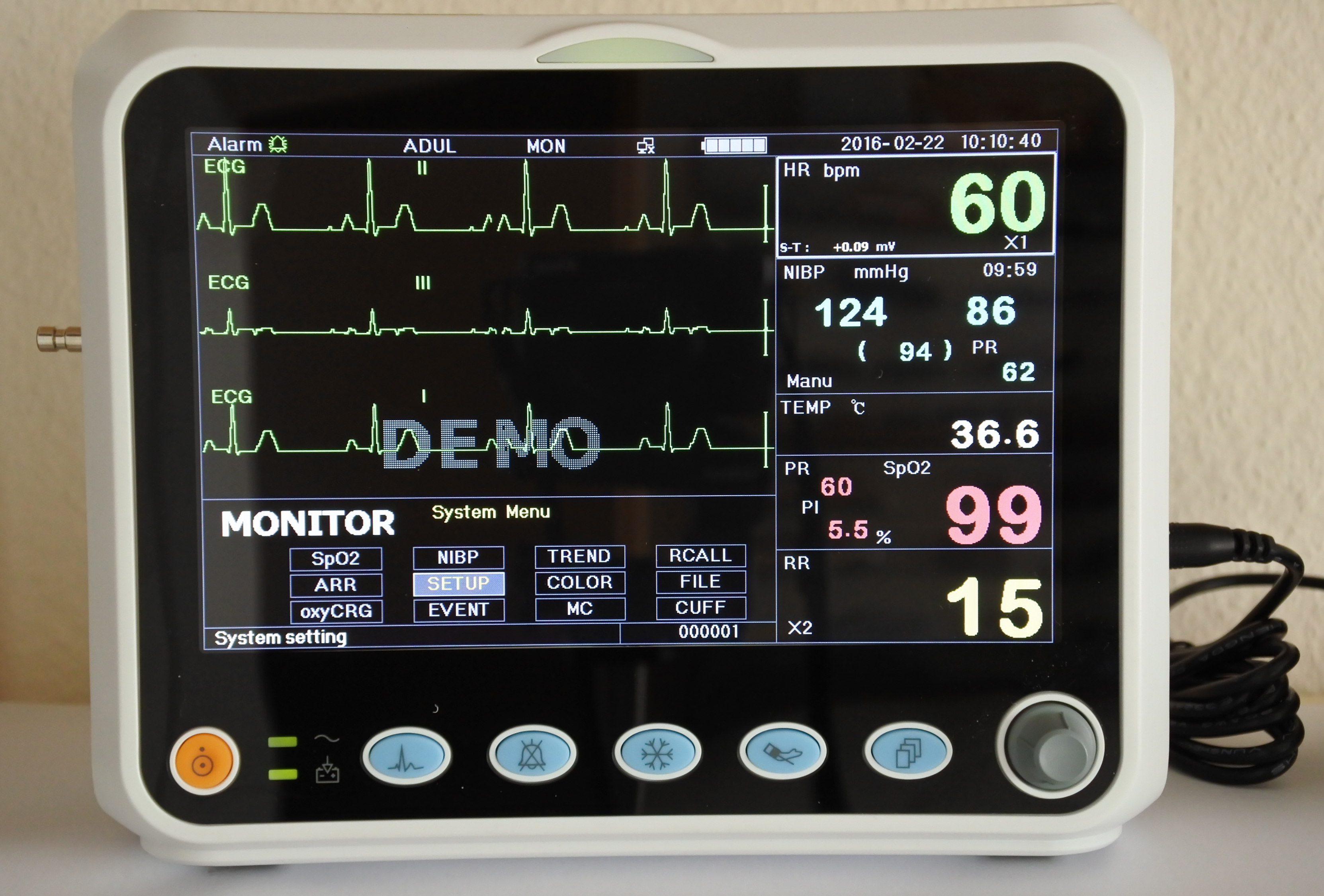 patient monitoring systems ECG, SPO2, NIBP, hearth rate, respiratory